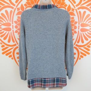 Joie Sweaters - Joie Gray Cashmere Plaid Shirt Sweater Combo XS